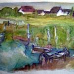 """""""Achterwasser"""", Aquarell, Mischtechnik, 2003"""