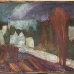 """""""Blick aus Muttis Fenster"""", Leinefelde, 1991, 39 x 39, Öl, Leinwand"""