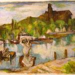 """Potsdamer Landschaft"", 1998, MIschtechnik, 69 x 69"