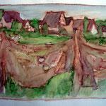"""Skizze """"Achterwasser"""", Rohrfeder, Aquarell, 2003"""