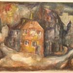 """""""Erfurter Altstadt - Am Comthurhof"""", Mischtechnik, A4, ca. 1968"""
