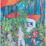 """""""Campingplatz E21"""", 1995, Faserstift, Aquarell, 68 x 47"""