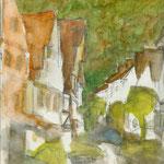 "Farbskizzen vor Ort ""Bad Urach"", 2007, Mischtechnik, A4"