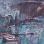 """""""Prendener See"""", 1987, Kreide, Aquarell, 47,5 x 36"""