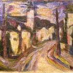 """Eichsfelder Landschaft"", 1993, Acryl, collagiert, 69 x 48"
