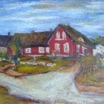 """""""Das rote Haus"""", 2013, Kasein/ Acryl auf Hartfaser, 60 x 50"""
