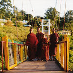 Monks on a Bridge, Taunggy, Myanmar