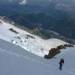 On the snow slopes to the top of Mont Blanc du Tacul.