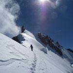 Steep firn below the summit.