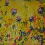 2014_Rotklee u Braunelle_90 x 180cm_Acryl_Baumwolle