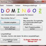Im Hauptmenü von Domingo 2 werden sich alle Domingo-Anwender schnell zurecht finden. Sämtliche Programmfunktionen lassen sich über die Menüleiste oben aufrufen, die wichtigsten Funktionen (Editor, Schnell- und Langzeitabfrage) auch direkt über die Buttons