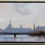 Dresden im Gegenlicht / Öl