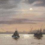 Hamburger Hafen im Morgendunst