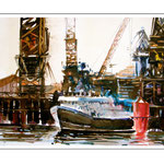 Hafen in Wellington / Aquarell