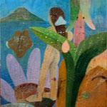 ROGER VON GUNTEN. Muchacha en el mar. óleo/tela. 160 x 130 cm.2007.