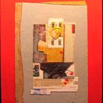 FERNANDO GARCÍA PONCE. Amarillo y azul/fondo rojo. técnica mixta/tela. 120 x 90 cm. 1982.