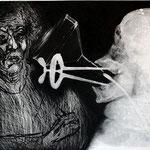 FRANCISCO TOLEDO. Autorretrato con cabeza RX. mixta grabado sobre placa de rayos X. 48 x 56 cm. 2011.