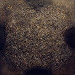 Cráter 122. Técnica mixta/tela, 120x120 cm, 2002