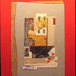 FERNANDO GARCIA PONCE, Amarillo y Azul sobre Fondo Rojo, técnica mixta/tela, 120x90 cm, 1982.