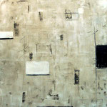 Espacio habitado por cuadros blancos y negros. Técnica mixta/tela, 120x100 cm, 2014
