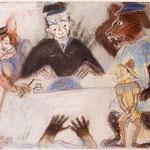 FRANCISCO TOLEDO, Juzgando a Pinocho, pastel/papel, 41x51cm, 2007.