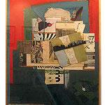 FERNANDO  GARCIA PONCE, Composición sobre rojo y azul, collage/triplay, 125x62 cm, 1986