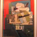 FERNANDO GARCÍA PONCE. Composición sobre rojo y azul. collage/triplay. 125 x 62 cm. 1986.