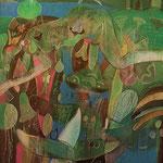 ROGER VON GUNTEN, Costa con sus habitantes, óleo/tela, 150x120cm, 2004.