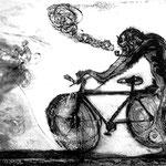 FRANCISCO TOLEDO, Chango en bicicleta, aguafuerte 4/15, 39x49cm  imagen/ 62x69.5cm papel, 2005.