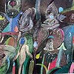 ROGER VON GUNTEN, Mundo meditado, acrílico/papel,37.5x83.5cm,1999