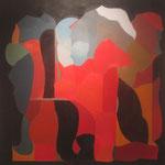 Emoción evolutiva. Óleo/tela, 135x135 cm, 2008.