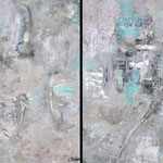 Blue Magic I & II, paper on panel, mixed media, both 90 x 70 cm in aluminum frame