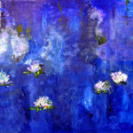 Water Lilies, canvas, mixed media,  160 x 120 cm