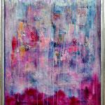 Silver Rain, panel, mixed media, 105 x 125 cm met lijst