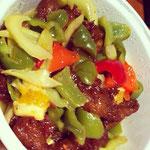 中華料理(カルビ風偽肉と野菜の炒め物)
