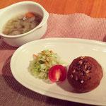 1日目夕食:Meg手作り料理をお出ししました。全て食物繊維たっぷり・・・オートミールと小麦胚芽入りプチパン、押し麦とレンズ豆のスープ、キャベツとクミンの白ワイン酢サラダ