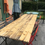 Ploemel Recyclage de lames de terrasses pour table extérieure.
