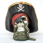 cabeza esqueleto pirata con cuerda
