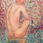 """""""Naked from behind"""", inchiostro e tempera su carta, 51x36 cm"""
