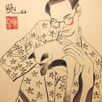 """""""Self-portrait with cat"""", inchiostro su carta, 30x21 cm"""