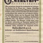 Garantieurkunde aus den 1920er Jahren