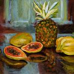 Pineapple and Papayas  --- Medium: Oil --- Size: 20 X 16