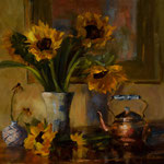 Sunflowers and Cooper Kettle --- Medium: Oil --- Size: 16 X 20 [SOLD]