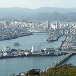 五台山の展望台から眺めた高知市街