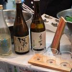 3つの銘柄の吟醸酒の利き酒セットが、600円。