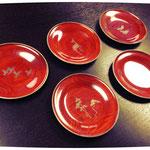 絵替五客揃漆器菓子皿
