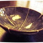 鼠志野十草紋飯茶碗