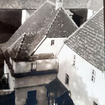 Blick auf das Wohnhaus vom obersten Stock der Mühle