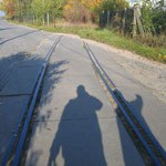 """Alte Zufahrtsgleise zum Bereich """"MAFA"""". Die Gleise auf dem Gelände sowie die hier zusehenden wurden mittlerweile entfernt"""