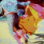 Stierenvechter in roze en blauw